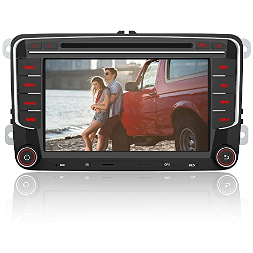 AWESAFE Radio Coche con Pantalla Táctil 2 DIN para Volkswagen, Autoradio para VW Passat Seat Golf Skoda y etc. con Bluetooth/GPS/FM/RDS/CD DVD/USB/SD/RCA, Apoyo Mandos Volante