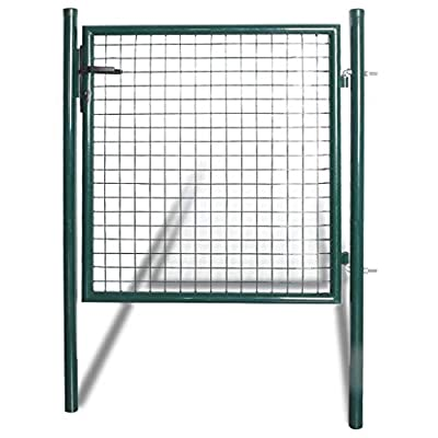 vidaXL Steel Fence Gate,Single Door - Coated Steel - DIY Installation Kit, for Outdoor, Yard, Patio, Entry Way, on Soil or Concrete, Dark Green