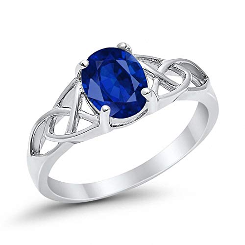 Celtic Accent Solitaire Ring Oval Simulated Blue Sapphire 925 Sterling Silver, Size-10