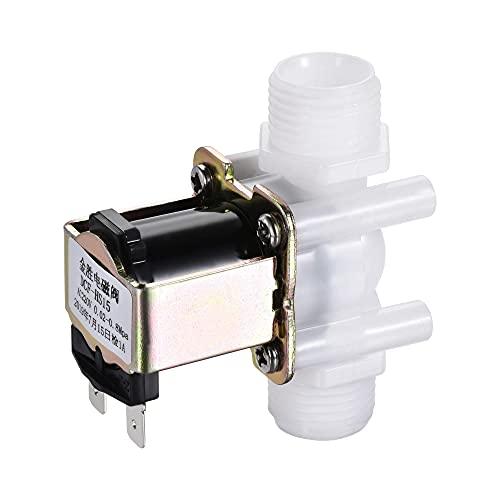 sourcing map AC220V G1/2 x 13mm Rosca Plástico Agua Eléctrica Solenoide Válvula Normalmente Cerrada N/C Presión Agua Entrada Flujo Interruptor