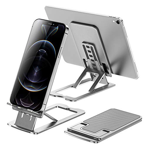 Foldable Aluminum Cell Phone Stand Holder, Adjustable Angle Height Phone Stand Desk [Pocket Size] Slim Than iPhone 12, Compatible with All Smartphones, Switch,iPad, Tablet(4-12 inch) (Silver)