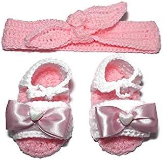 Conjunto tiara y zapatos rosas con blanco (0 a 3 meses)