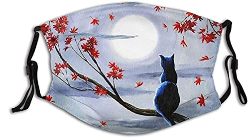 Face Mask A Black Cat Sitting On A Branch of Maple Tree Red Leaves Balaclava Unisex Reusable Windproof Mouth Bandanas Outdoor Camping Motorcycle Running Neck Gaiter Made in USA