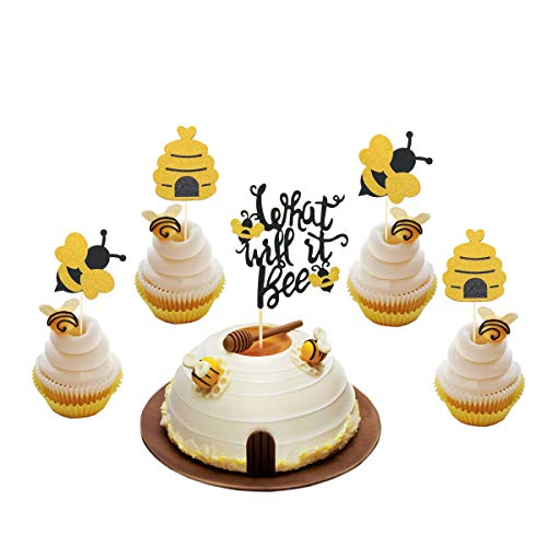 25 Pcs Glitter What Will It Bee Cake Topper Bumble Bee Cupcake Toppers Bee Pupa Cupcake Toppers Gender Reveal Party Decorations Desserts Supplies for Baby Shower Bee Themed Birthday Party Photo Props