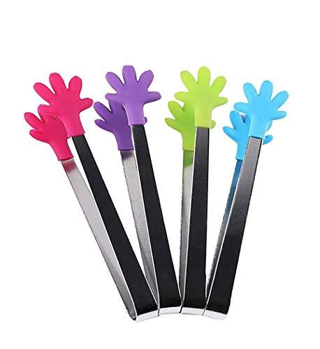 Hillento 4 Stück Mini-Zange/Eiszange mit perfekt gestalteten Silikon-Handform Zange Beste Küchenhelfer, für Muffins, Pfannkuchen, Kekse, Schokolade
