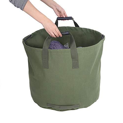 Weikeya Bolsa de Basura cómoda, Bolsas de Basura de jardín Verde Reutilizables de 45 * 55 cm de Gran Capacidad Interna con Lona para Uso a Largo Plazo.