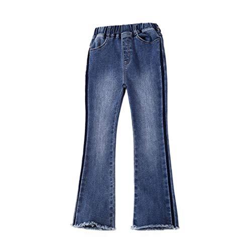 PanpanBox Niñas Vaqueros Evasé Stretch Denim Pants Jeans Cargo Pantalones Corte Bota Casual Para 3-11 Años (150 Cm/ ~ 9-10 Años)