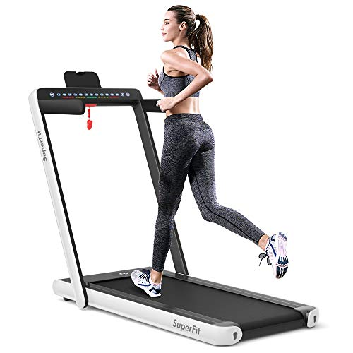 Goplus 2 in 1 Folding Treadmill with Dual Display,...