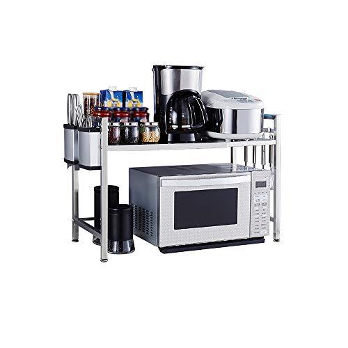 LBYMYB Estante de cocina de acero inoxidable para microondas y cocina con 6 ganchos para cuchillos, estante de almacenamiento de cocina (tamaño: 50 – 80 x 36,5 x 53 cm)