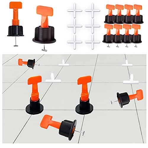 GmeDhc 50 Piezas sistema de nivelación de baldosas, Nivelación de Azulejos Reutilizable, cuñas niveladoras suelo, nivelador de colocación de baldosas en forma de T para pisos de construcción