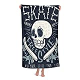 De Gran Tamaño Ultra Suave Toalla de Baño Manta,Cool Skateboard Skull Design Skater Board Música Gráfico Skate Bones Carácter,Toalla de Playa Hoja de Viaje Piscina Cámping Deportes,32' x 52'