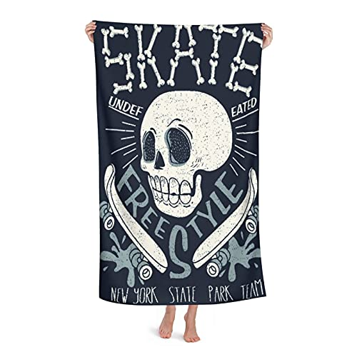 """De Gran Tamaño Ultra Suave Toalla de Baño Manta,Cool Skateboard Skull Design Skater Board Música Gráfico Skate Bones Carácter,Toalla de Playa Hoja de Viaje Piscina Cámping Deportes,32"""" x 52"""""""