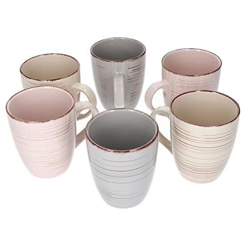 Van Well Royal 6er Kaffee-Becher-Set I robustes Steingut-Kaffee-Tassen-Set - moderner Landhaus-Stil I geeignet für Mikrowelle & Spülmaschine I große Cappuccino-Tassen I Kaffee-Tasse groß 6 Stück