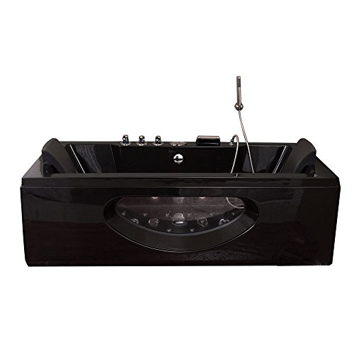 Luxus Whirlpool Badewanne Samurai Profi SCHWARZ mit 26 Massage Düsen + 3x LED Beleuchtung + Heizung + Ozon Eckwanne rechts + links mit Glas Hot Tub Spa indoor/innen für 2 Personen