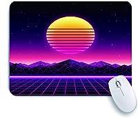 ECOMAOMI 可愛いマウスパッド サイバーワールドウェーブミュージックアルバムのレトロフューチャー1980SデジタルランドスケープSunSpace Mountains and Laser 滑り止めゴムバッキングマウスパッド
