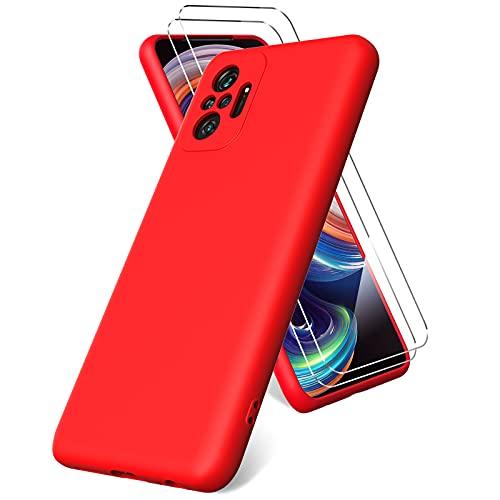 Vansdon Funda Compatible con Xiaomi Redmi Note 10 Pro/Note 10 Pro MAX, 2 Unidades Protector Pantalla Cristal Templado, Silicona Líquida Gel Ultra Suave Funda- Rojo