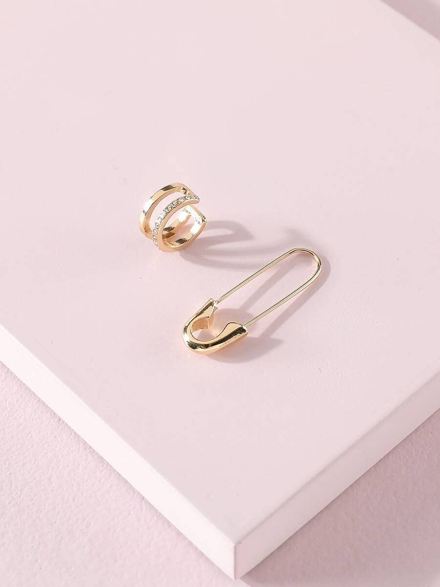 ANBF Hoop Earrings 2pcs Safety Pin Decor Ear Cuff (Color : Gold, Size : OneSize)