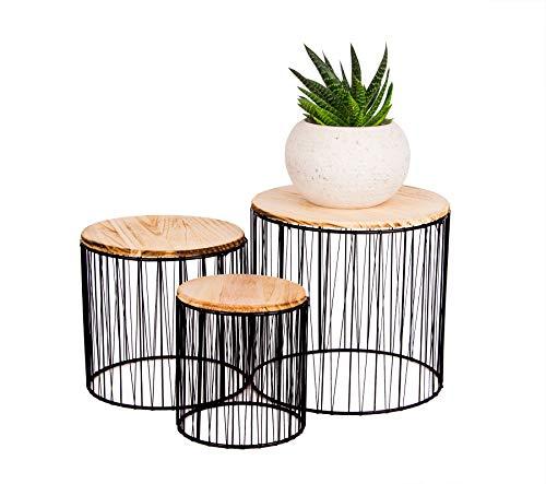 BigDean 3er Set Pflanzenständer aus Metall & Holz - Blumenständer im modernen skandinavischen...