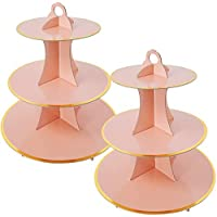 2-Pack Fover 3-Tier Round Cardboard Cupcake Stand