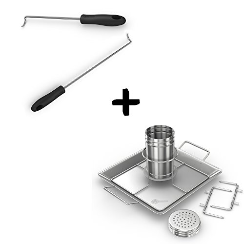 Cave Tools Pigtail Food Flipper Hooks + Beer Can Chicken Roaster Rack - Stainless Steel Vertical BBQ Roasting Holder for Grill Smoker or Oven - Dishwasher Safe Barbecue Stand & Extra Deep Drip Pan