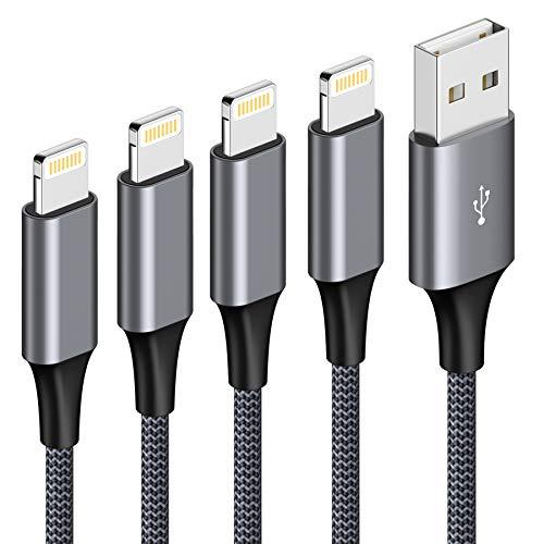 Cavo iPhone [4Pezzi, 0.3m 1m 2m 3m] Cavo Lightning a USB Nylon Intrecciato Carica Rapida Caricatore iPhone per iPhone 11 PRO XR XS XS Max X 8 8 Plus 7 7 Plus 6s 6s Plus 6 6 Plus 5s 5 SE 2020-Grigio