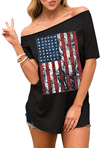 July 4th Womens Short Sleeve Patriotic Graphic Off Shoulder T Shirt Casual American Flag Summer Top M