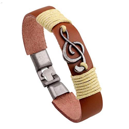 ABWEY Pulsera de accesorios de aleación de moda retro para mujer, pulsera tejida a mano, pulsera con símbolo de música con hebilla doble de aleación, de cumpleaños para parejas-B