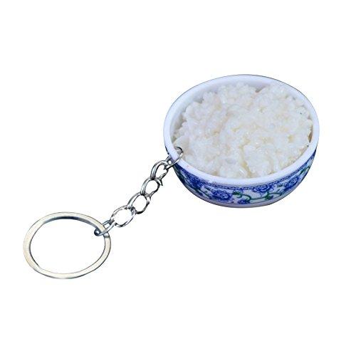 Emorias 1 pc Creative Trousseau Forme de Simuler Cuisine Chinoise pour Porte-clés Décoration à Suspendre pour Hangbag Purse Sac Accessoires(du Riz)