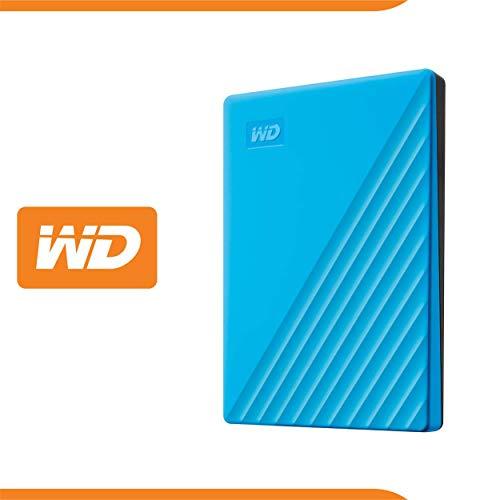 WD 2 TB My Passport disco duro portátil con protección con contraseña y software de copia de seguridad automática, Compatible con PC, Xbox y PS4, color Azul