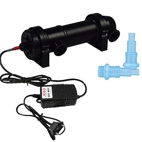 AILOVA Esterilizador UV Filtro De Acuario Filtro De Luz Clarificador De Agua para Limpiar Acuarios De Agua Piscinas Pecera (UV-H18)