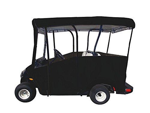 "Golf Cart Cover – Premium Extended Roof Drivable 4-Sided Cart Cover w/ 80"" x 48' Standard Fit – Rain Cover for Golfers – Portable EZGO Golf Cart Cover fits Yamaha Drive, Club Car Precedent (Black)"