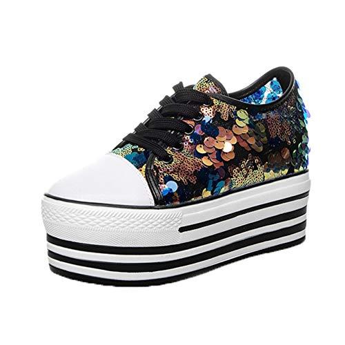Zapatos de Plataforma de Ocio con Cordones para Mujer, ultraligeros, para Uso Diario al Aire Libre, Lentejuelas, Creepers, Zapatos de Trabajo concisos para Primavera y otoño
