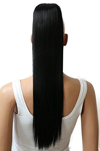 PRETTYSHOP 60cm Haarteil Zopf Pferdeschwanz Haarverlängerung Glatt Schwarz H601