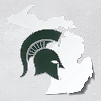 Michigan State Spartans Green Helmet on White State of Michigan Car Decal - MSU