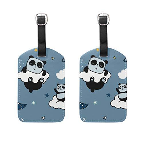 Chic Houses Etiquetas de Viaje con diseño de Panda de Flores Rosas para Equipaje Estilo Q versión de Dibujos Animados con diseño de Animales, para Equipaje 2031251