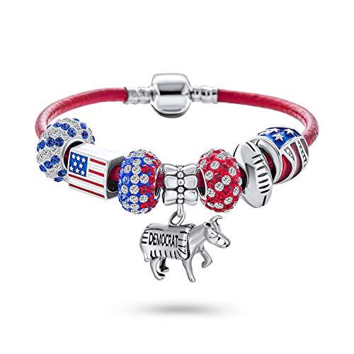 Patriotische USA Abstimmung Amerika Demokrat Symbol Esel Perle Charm Armband rot weiß blau Starter Perlen Multi Charm Armband echtes rotes Leder für Frauen.925 Sterling Silber