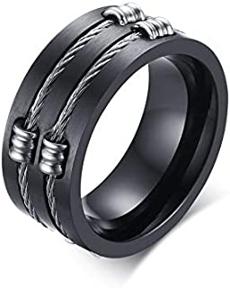 خاتم أسود للرجال حلقة الذيل من الفولاذ المقاوم للصدأ خاتم فيا الأصلي مجوهرات