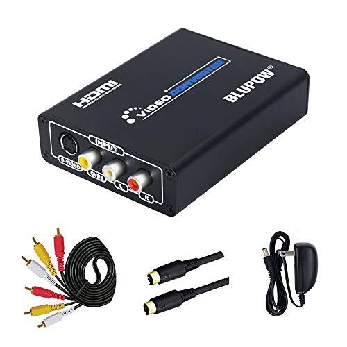 BLUPOW コンポジット/S端子 to HDMI 変換器 1080P対応 Composite 3RCA AV/S-Video to HDMI コンバーター ビ...