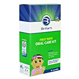 First Teeth Oral Care Kit of Baby Buddy by Brilliant's Oral Care Program - Includes Baby's 1st Teether-Brush, Brilliant Baby Toothbrush & 2oz Spry Strawberry-Banana Tooth Gel 4+ Months, Blue