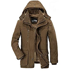 Men's Winter Coat Hooded Fleece Lined Casual Jacket Multi Pockets
