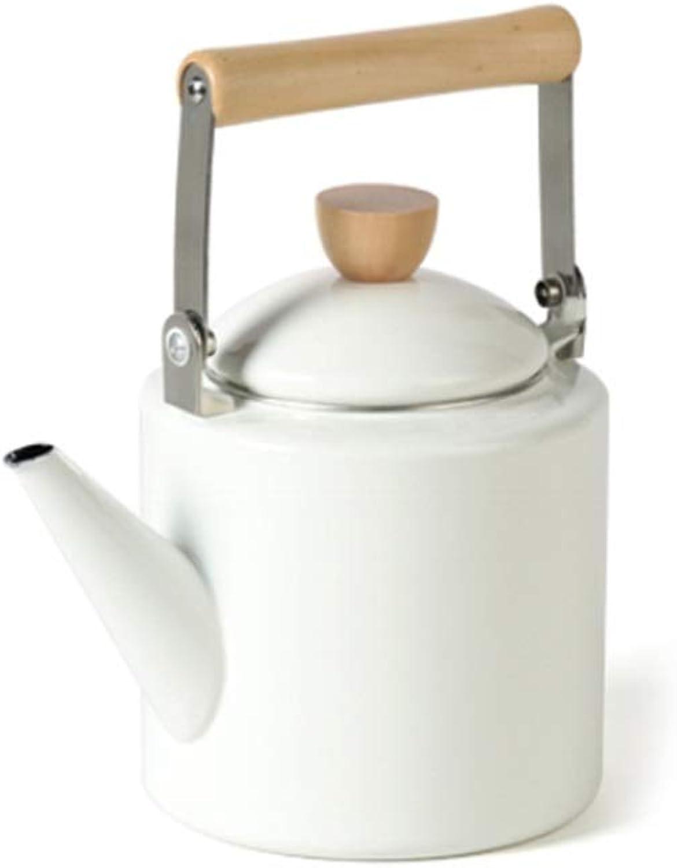 Bouilloire De Gaz D'émail Rouge De 2.4LTea Pots avec La Poignée en Bois pour Le Gaz De Plaques De Cuisson D'induction (Couleur   Blanc)