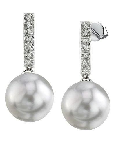 14 K oro blanco perla cultivada del Mar del Sur pendientes de diamante de peluche