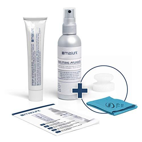 masunt Reinigungs- und Pflegeset für Metall und Edelstahl | vierteilig | Polierpaste | Edelstahl-Pflegeöl