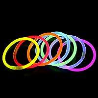 ライトスティック 光るブレスレット ジョイントコネクタ付き イベント 夏フェス 100本入り 8色50本セット 約8時間点灯 (オレンジ, 300本セット)