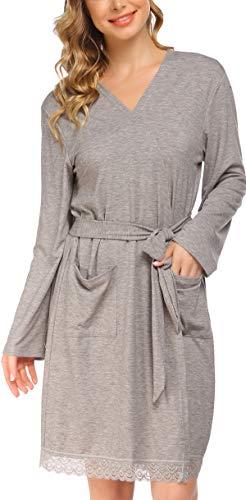 Pinspark Damen Bademantel Langarm Nachtwäsche Kimono Baumwolle Saunamantel Robe Nachthemd zum Stillen Still Schlafanzug für Schwangere Grau XXL