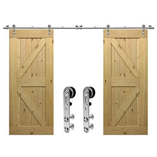 Herraje para Puerta Corredera Acero Inoxidable Kit de Accesorios, Guia Riel Puertas Correderas, Forma Cabeza redonda