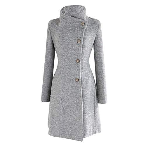 Lulupi Damen Wollmix Mantel Elegant Wollmantel Winterjacke Einreiher Stehkragen Jacke PEA Coat Trenchcoat Elegant Frauen Lange Ärmel Wintermantel Outwear mit Gürtel