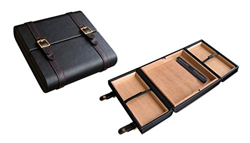 Prestige Import Group - The Augustus Leather Travel Cigar Travel Humidor - Up to 20 Cigars - Color: Black