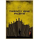Imprimir En Lienzo Frameless Twenty One Pilots Póster Vintage Retro Rock Band Music Guitar Matte Antique Canvas Poster Posters A288 (40X60Cm) Sin Marco