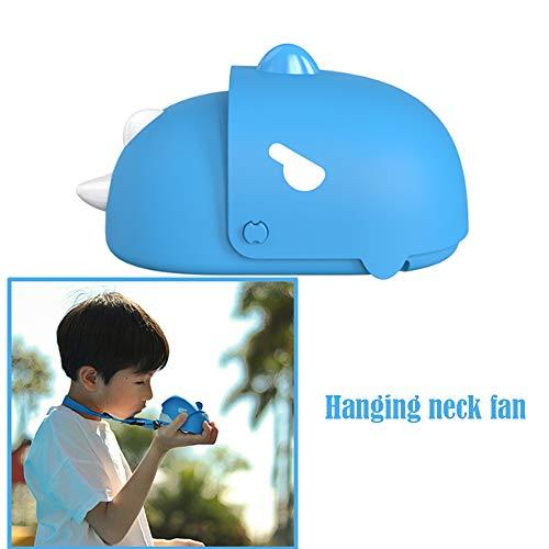 Children's Hangende Neck Dinosaur Kleine Ventilator Draagbare USB Oplaadbare Lazy Sports Hands-Free Kleine Ventilator Kinderlijke Shape Eenvoudige Bediening Met Safety Net Geschikt Voor Studenten,Blue